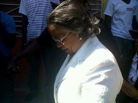 "@jacquiecharles: ""#Manigat arriving to vote."""