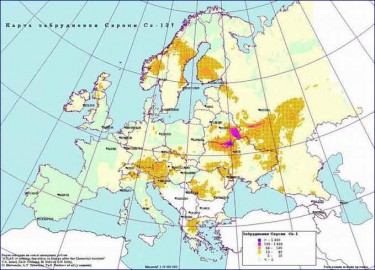 Map of nuclear pollution (Caesium-137) in Europe, 1996 (ten years after the Chernobyl disaster). Map courtesy of Chernobyl.in.ua