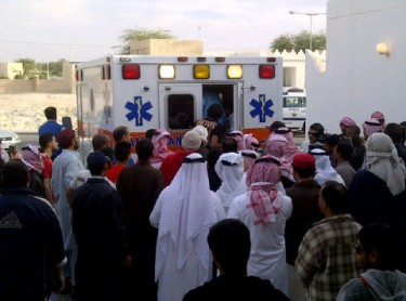 Ambulance brings the body for burial