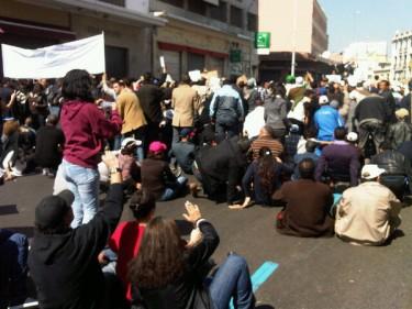 Manifestazione a Casablanca, cori