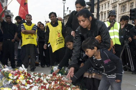 Tamils and UK political leaders gathered in Parliament Square, London to remember the 40,000 Tamils killed in 2009 in Sri Lanka. Image by Melpressman, copyright Demotix (18/05/2010).