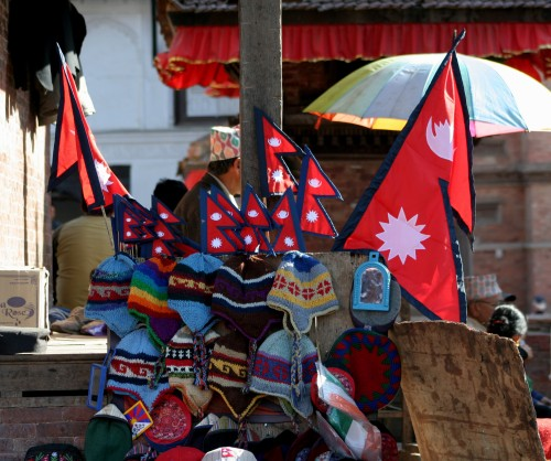 Nepali Flags on display and for sale in Basantpur Durbar Square. Image by Sharad Aryal, copyright Demotix (24/03/11).