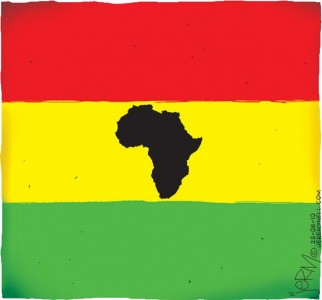 Ghanaian Flag With African Map.