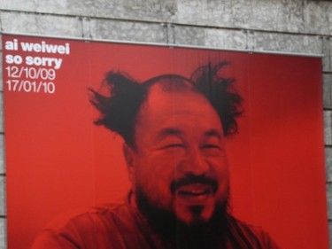 Promotional billboard for an exhibit by Chinese artist Ai Weiwei in Munich, Germany. Image by Flickr user sanfamedia.com (CC BY-ND 2.0).
