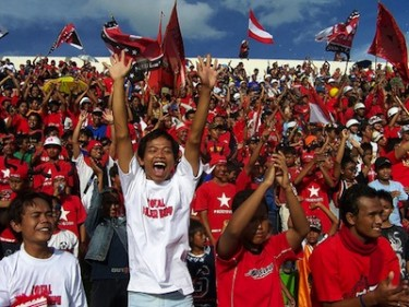 Supporters of Indonesian football team, Persiba Bantul. Image by Flickr user Paserbumi Bantul (CC BY-NC-SA 2.0).