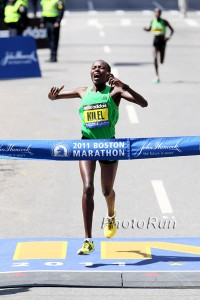 Caroline Kilel completes another double for Kenya at the 2011 Boston Marathon. Image courtesy of www.runblogrun.com.