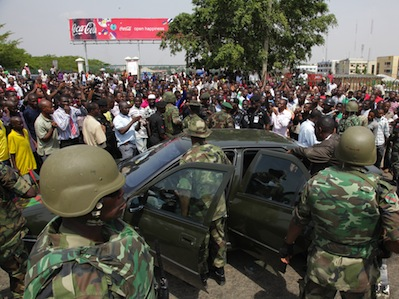 Tensions are high in Nigeria, and there have been reports of riots in a number of states. Image by Tom Saater, copyright Demotix (18/04/2011).
