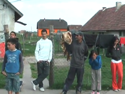 Roma in the Hungarian village of Gyöngyöspata. Still from video uploaded to YouTube by sosinet1.