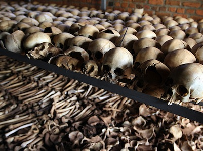 Unburied bones of victims of the Rwandan genocide at a memorial centre. Image by Flickr user DFID - UK Department for International Development (CC BY-NC-ND 2.0).