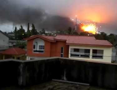 Screenshot from video showing bombardment in Abidjan