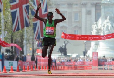 Kenya's Emmanuel Mutai wins the 2011 Virgin London Marathon. Image courtesy of Beaumont Enterprise.