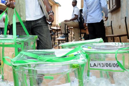 Ballot boxes at a voting center in the Ketu district of Lagos on April 2, 2011. Photo courtesy of PressTV (www.presstv.com).