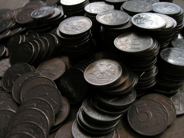 Russian five rouble coins. Image by Flickr user Waltie (CC BY 2.0).