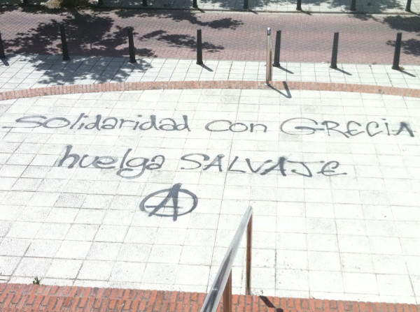"""SOLIDARITY WITH GREECE"" #greekrevolution, Valladolid (Spain). Twitpic photo by Christopher Gonzalez."