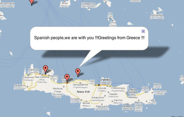 From camp map: Greece greets Spain. #SpanishRevolution #solidarity. Twitpic screenshot by @Cyberela.