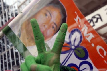 A victory sign is displayed by a party worker of Trinamool Congress after the poll result of West Bengal Assembly election 2011. Image by Arindam Dey. Copyright Demotix (13/5/2011)