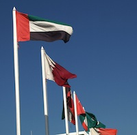 Flags of the original Gulf Cooperation Council GCC members. Image by Flickr user abcdz2000 (CC BY-NC-SA 2.0).