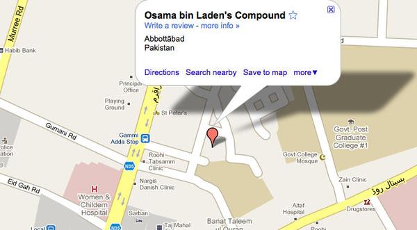 Schuilplaats van Osama op Google Maps