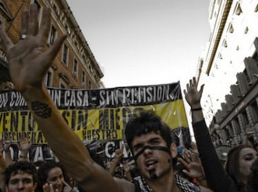 Youth protest in Madrid, Spain. Image by Guillermo Martinez, copyright Demotix (15/05/11).