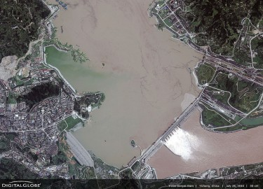 Three Gorges Dam, Yichang. Image taken from Flickr user: DigitalGlobe-Imagery under CC license BY-NC-ND 2.0.