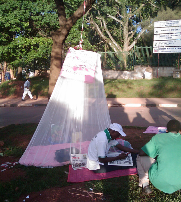 Makerere area councillor Mr Bernard Luyiga went on hunger strike to protest police brutality. he camped outside Makerere University. Photo courtesy of Twitter user @pjkanywa.