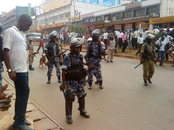 Police in Kampala blocking peaceful demonstrators. Photo courtesy of Twitter user @vote4africa.