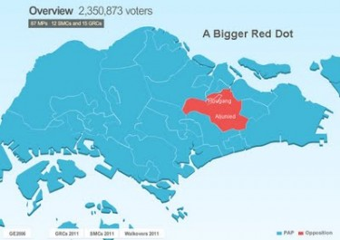 The Singapore opposition (red mark) gained five seats in the Parliament. Image from singaporesojourn.blogspot.com.