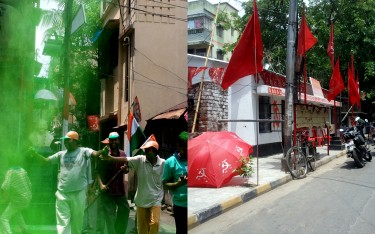 The scene outside the local TMC party office and that of the ousted CPI(M). Image by author.