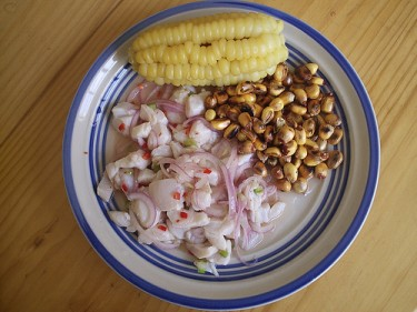 Peruvian Cebiche, with choclo and cancha. Image by David and Katarina on Flickr (CC BY 2.0).