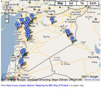 Een kaart van de protesten in Syrië na de toespraak van Assad