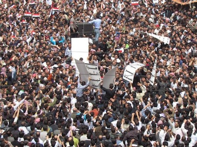 Protest in Damascus, Syria (31/05/11). Image by Flickr user syriana2011 (CC BY 2.0).
