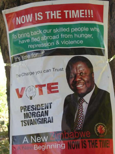 Morgan Tsvangirai (Zimbabwe's Prime Minister) campaign poster in 2008. Photo courtesy of Flickr user frontlineblogger (CC BY-NC-SA 2.0)