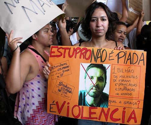 Rape is not a joke, it is violence. SlutWalk Brasilia 2011. Photo by rogeriotomazjr on Flickr (CC BY-NC 2.0)