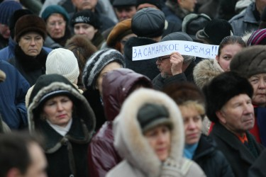 """For the Sahara Time!"" Russian regions protest against changing the timezone. Photo by Misha Denisov, copyright Demotix (11/12/2010)."