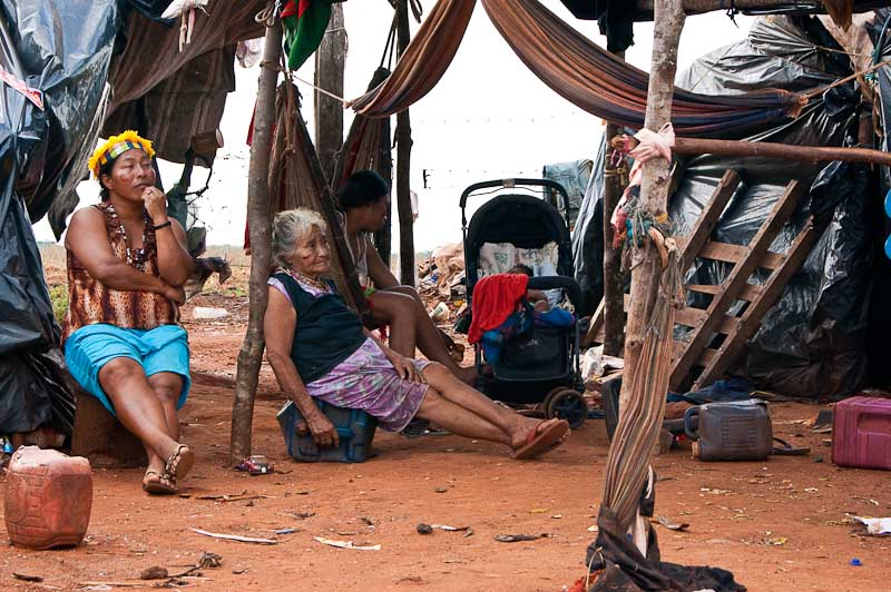 The social cost of Brazil's biofuels expansion: The indigenous Guarani Kaoiwa community of Laranjeira Nhanderu were pushed off their land 14 months ago to make way for more sugarcane plantations. Photo by Annabel Symington, copyright Demotix (21/10/10).