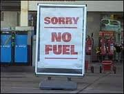 A sign at a petrol station in Malawi. Photo courtesy of Malawi Fuel Watch.