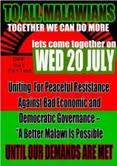 Uniting for Peaceful Resistance. Image courtesy of 'DEMO YA TIYENI TONSE PA 20 JULY' Facebook page.
