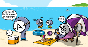 The most organised, Type A, softly complains about who packed the vacation baggage, Type AB points at Type O and B for lousy packing. Type O and B are busy playing in the sea. Image from Cartoonist Park's blog (CC BY NC ND).