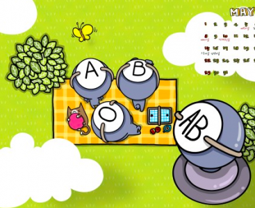 Type AB, the rarest blood type, is always pictured as a sort of outsider, even an alien sometimes. In the image, AB is riding on a UFO while others are sitting on the ground. Image from Cartoonist Park's blog (CC BY NC ND).