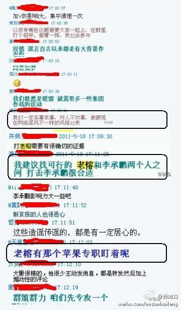 Screenshot of @piyaolianmeng online group discussion attacking online activists and bloggers. Marks indicate highlighted points or names covered up for purposes of privacy.