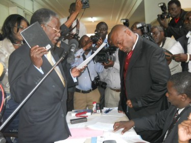 Michael Sata, the main challenger to Zambia's incumbant president files his nomination. Image by Owen Miyanza, copyright Demotix (09/08/2011).