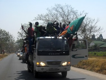 Supporters in a truck celebrate the victory of opposition leader Michael Sata as he was sworn in as the fifth Zambian president. Image by Owen Miyanza, copyright Demotix (23/12/2011).