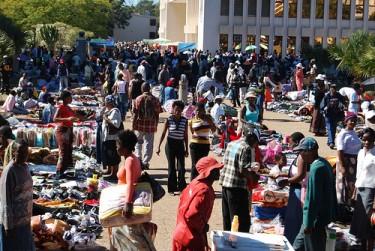 Saturday morning market outside Bulawayo city hall