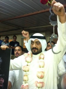 "Nasser Abul after his release. Picture taken from the Facebook group ""We are all with Nasser Abul""."