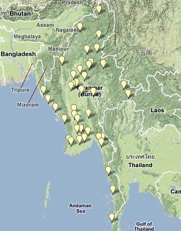 Mappa delle carceri in Birmania