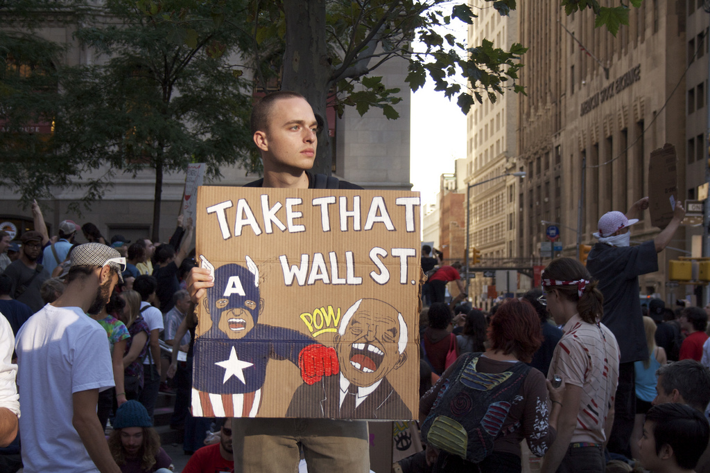 Occupy Wall Street. Foto van mar i sea Y op Flickr (CC BY-NC-SA 2.0).