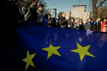 'We are Europeans!' rally in Kyiv, Ukraine. Photo by Sergei Svetlitsky, copyright © Demotix (26/10/2011).