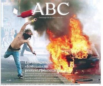 "ABC's front page, 16 Oct. 2011 - The indignant demonstrators ""celebrate"" their global protest."