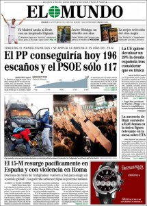 The front page of El Mundo downplays the demonstrations and depicts protesters as violent.