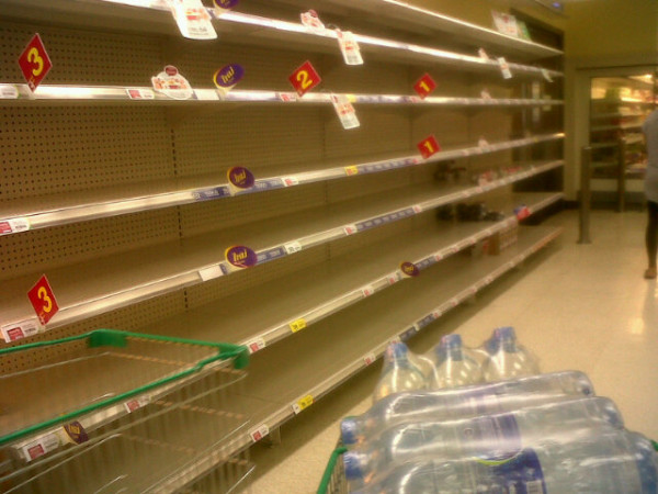 Empty shelves in a store during flooding. From twitter user @icetimicetim